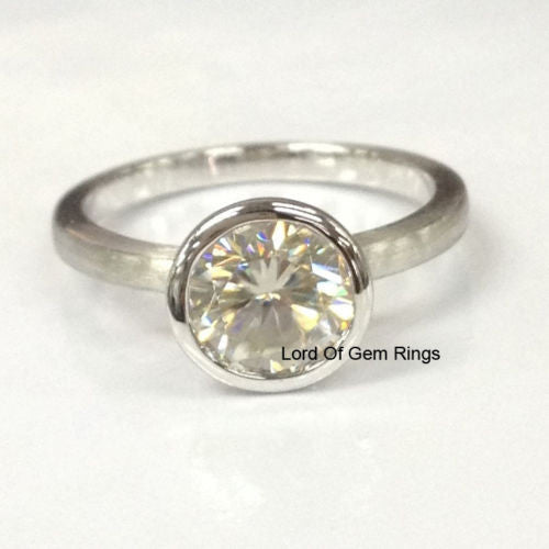 Reserved for Tara Round Aquamarine Engagement Ring 14K White Gold 7mm  Bezel Set - Lord of Gem Rings - 1