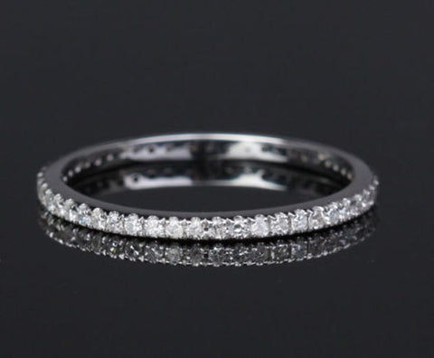 Ready to Ship - Pave Diamond Wedding Band Eternity Anniversary Ring 14K White Gold SI/H - THIN Design - Lord of Gem Rings - 1