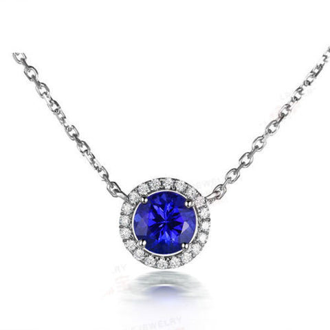 AAA Natural Blue Tanzanite VVS-G Diamonds 18K White Gold Pendant For Necklace - Lord of Gem Rings - 1