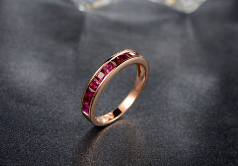 Princess Ruby Wedding Band Half Eternity Anniversary Ring 18K Rose Gold - Lord of Gem Rings - 1