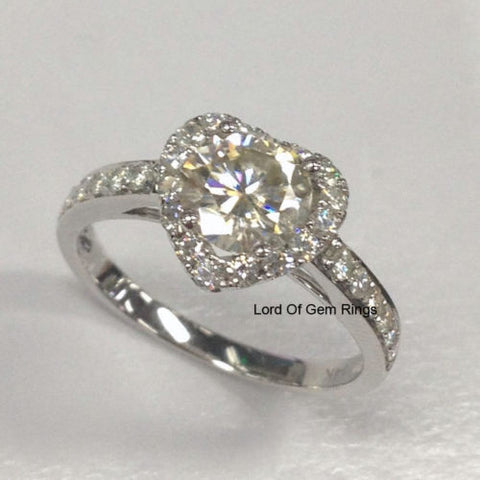 Round Moissanite Engagement Ring Heart Shaped Halo Diamond Wedding 14K White Gold 6.5mm - Lord of Gem Rings - 1