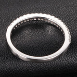 French Pave Diamond Wedding Band Half Eternity Anniversary Ring 14K White Gold -VS/H - Lord of Gem Rings - 4