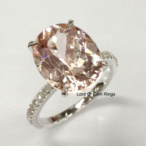 Ready to Ship - Oval Morganite Engagement Ring Pave  Diamond Wedding 14K White Gold 10x12mm: 14KW-OMorg-0Halo - Lord of Gem Rings - 1