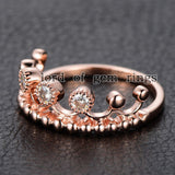 Moissanite Engagement Ring 14K Rose Gold 3mm Round Royal Crown - Lord of Gem Rings - 5