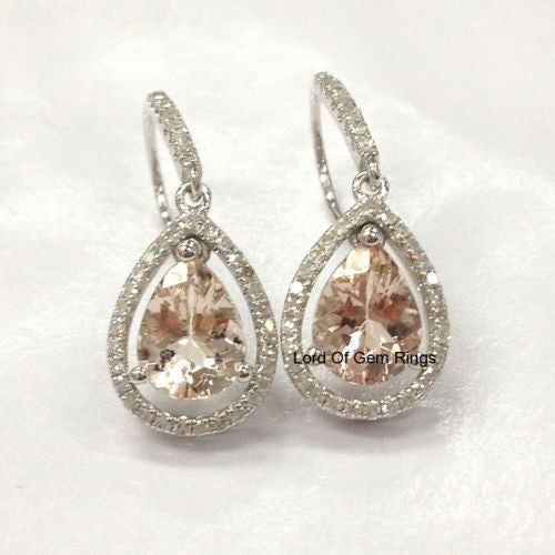 Pear Morganite Pave diamond Earrings 14K White gold,6x8mm,Halo,Hook - Lord of Gem Rings - 1