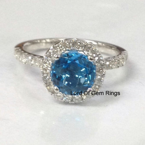 Round Sky Blue Topaz Engagement Ring Pave Diamond Wedding 14K White Gold 7mm - Lord of Gem Rings - 1