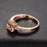 Asscher Morganite Engagement Ring Pave Diamond Wedding 14K Rose Gold - Lord of Gem Rings - 2