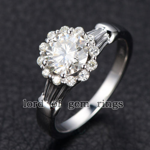 Round Forever Brilliant Moissanite Engagement Ring Pave Moissanite Wedding 14K White Gold 6.5mm Floral - Lord of Gem Rings - 1