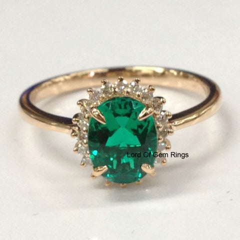 $415 Oval Emerald Engagement Ring Diamond Halo 14K Rose Gold
