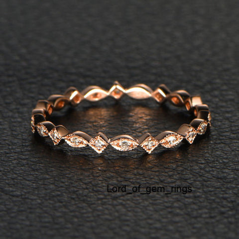 Ready 2 Ship: Pave Diamond Wedding Band Eternity Anniversary Ring 14K Rose Gold Art Deco - SI/H: 14KR-S1M1 - Lord of Gem Rings - 1