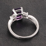 Emerald Cut Amethyst Baguette Diamond Wedding Ring 14K White Gold 6x8mm Claw Prongs - Lord of Gem Rings - 4