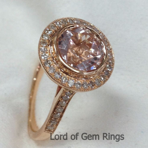 Round Morganite Engagement Ring Pave Diamond Wedding 14K Rose Gold 8mm Bezel - Lord of Gem Rings - 1