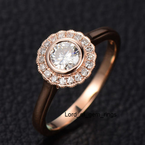 Round Moissanite Engagement Ring Diamond Halo 14K Rose Gold 5mm Flower Bezel - Lord of Gem Rings - 1