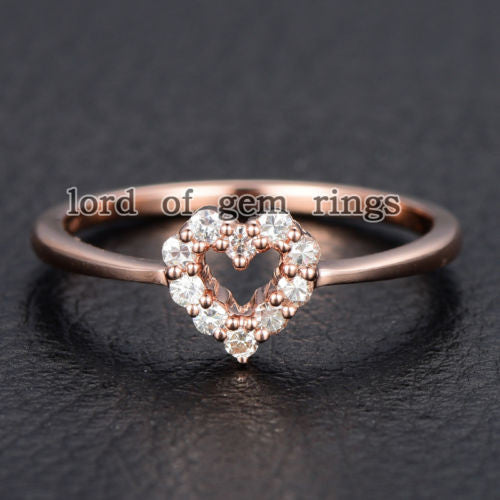 Round Moissanite Engagement Heart Shaped 14K Rose Gold 1.5mm - Lord of Gem Rings - 1