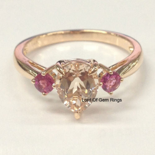 Pear Morganite Engagement Ring  Pink Tourmaline 14K Rose Gold 6x8mm - Lord of Gem Rings - 1