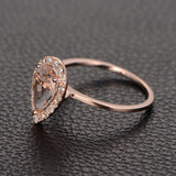 Pear Morganite Engagement Ring Moissanite Halo 14K Rose Gold 6x8mm - Lord of Gem Rings - 3