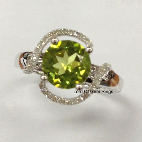Round Peridot Engagement Ring Pave Diamond Wedding 14K White Gold 8mm  Curved - Lord of Gem Rings - 1