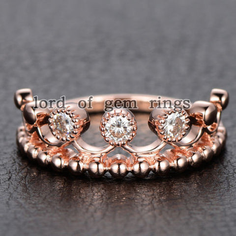 Moissanite Engagement Ring 14K Rose Gold 3mm Round Royal Crown - Lord of Gem Rings - 1