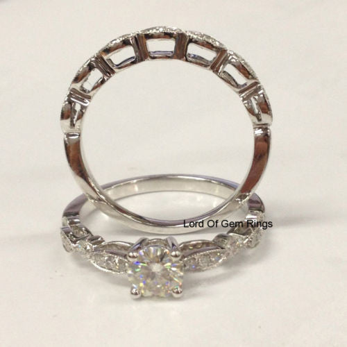 Moissanite Engagement Ring Sets Pave Diamond Wedding 14K White Gold 5mm Art Deco Antique - Lord of Gem Rings - 1