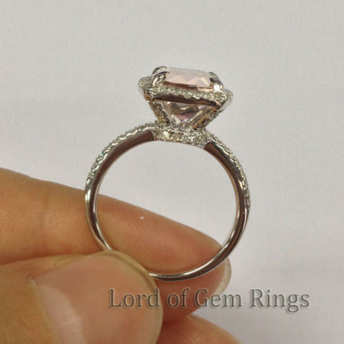 $588 Cushion Morganite Engagement Ring Pave Diamond Wedding 14K White Gold –