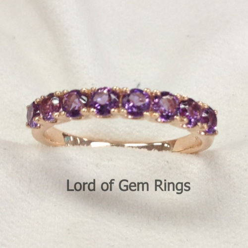 Amethyst Wedding Band Half Eternity Anniversary Ring 14K Rose Gold 3mm 8 stones - Lord of Gem Rings - 1