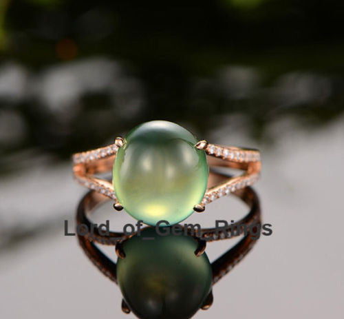 Oval Cut Green Prehnite Diamonds Split Shank Engagement Ring 14K Rose Gold - Lord of Gem Rings - 1