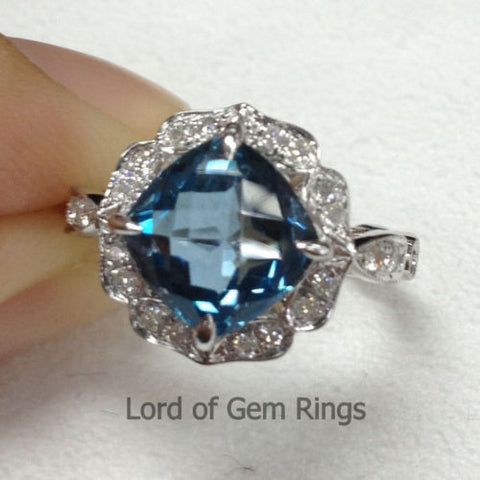 Cushion London Blue Topaz Engagement Ring Pave Diamond Wedding 14K White Gold 8x8mm Fine Ring Vintage Floral Design - Lord of Gem Rings - 1