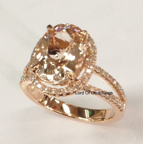 Ready to Ship - Oval Morganite Engagement Ring Pave Diamond Wedding 14K Rose Gold 8x10mm Split Shank - Lord of Gem Rings - 1