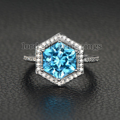 Hexagon Blue Topaz Engagement Ring Diamond Pave Diamond Wedding 14K White Gold 9x9mm - Lord of Gem Rings - 1