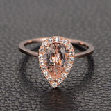 Pear Morganite Engagement Ring Moissanite Halo 14K Rose Gold 6x8mm - Lord of Gem Rings - 2