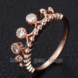 Moissanite Engagement Ring 14K Rose Gold 3mm Round Royal Crown - Lord of Gem Rings - 3