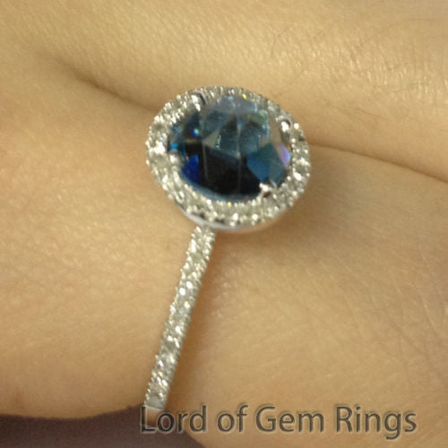 OEC Round London Blue Topaz Engagement Ring Pave Diamond Wedding 14K White Gold 7mm - Lord of Gem Rings - 1