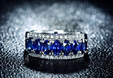 Oval Blue Sapphire Engagement Ring VVS Diamond Wedding Band 18K White Gold - Lord of Gem Rings - 1