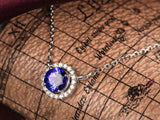AAA Natural Blue Tanzanite VVS-G Diamonds 18K White Gold Pendant For Necklace - Lord of Gem Rings - 2