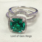 Cushion Emerald Engagement Ring Sets Pave Diamond Wedding 14K White Gold 8mm - Lord of Gem Rings - 2