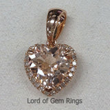 Heart Shaped Cut 8mm Pink Morganite Diamond Pendant For Necklace in 14K Rose Gold - Lord of Gem Rings - 1