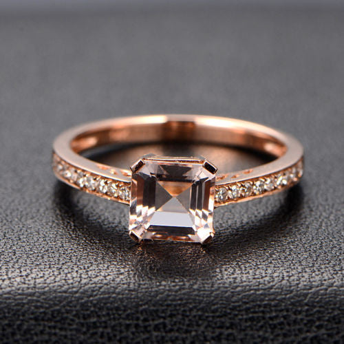 Asscher Morganite Engagement Ring Pave Diamond Wedding 14K Rose Gold - Lord of Gem Rings - 1