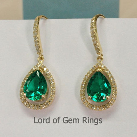6x8mm Pear Cut Green Emerald Hook Dangle Earrings,14K Yellow gold with diamond - Lord of Gem Rings - 1