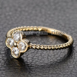 Moissanite Engagement Ring 14K Yellow Gold 3mm Round Four Leaved Clover Floral - Lord of Gem Rings - 5