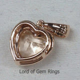 Heart Shaped Cut 8mm Pink Morganite Diamond Pendant For Necklace in 14K Rose Gold - Lord of Gem Rings - 3