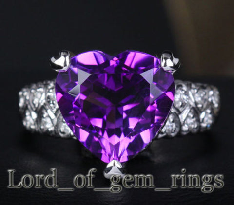 Heart Shaped Purple Amethyst Engagement Ring Diamond Wedding 14k White Gold - Lord of Gem Rings - 1