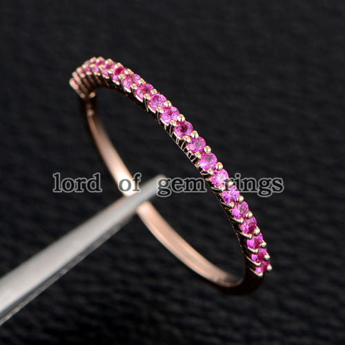 Pink Sapphires Wedding Band Half Eternity Anniversary Ring 14K Rose Gold - Lord of Gem Rings - 1