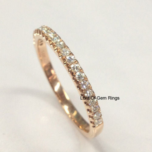 Moissanite Wedding Band Half Eternity Anniversary Ring 14K Rose Gold Stackable - Lord of Gem Rings - 1