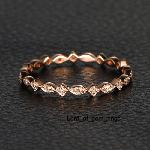 Pave Diamond Wedding Band Eternity Anniversary Ring 14K Rose Gold Art Deco - SI/H - Lord of Gem Rings - 1