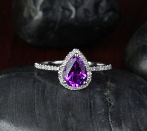 Pear Dark Purple Amethyst Engagement Ring Pave Diamond Wedding 14k White Gold 6X8mm - Lord of Gem Rings - 1