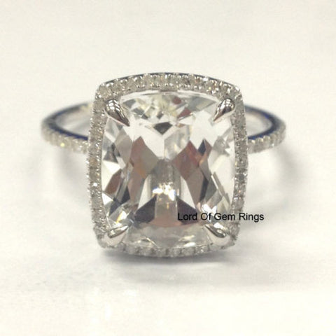 Cushion White Topaz Engagement Ring Pave Diamond Wedding 14K White Gold 10x12mm - Lord of Gem Rings - 1