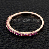 Pink Sapphires Wedding Band Half Eternity Anniversary Ring 14K Rose Gold - Lord of Gem Rings - 4