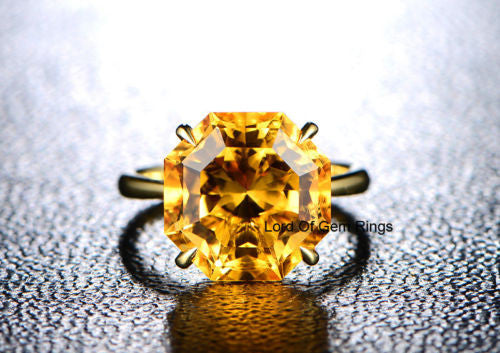 Octagon Citrine Engagement Ring 14K Yellow Gold 13mm, Solitaire - Lord of Gem Rings - 1