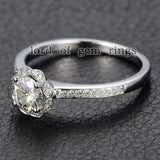Round Moissanite Engagement Ring Pave Diamond Wedding 14K White Gold 5mm - Lord of Gem Rings - 4