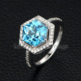 Hexagon Blue Topaz Engagement Ring Diamond Pave Diamond Wedding 14K White Gold 9x9mm - Lord of Gem Rings - 5